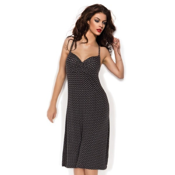 Miorre Black and Grey Polka Dot Knee-length Gown