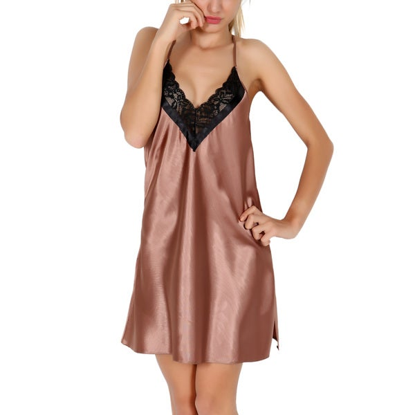 Miorre Satin Latte Deep V-cut Chemise With Lace Accent