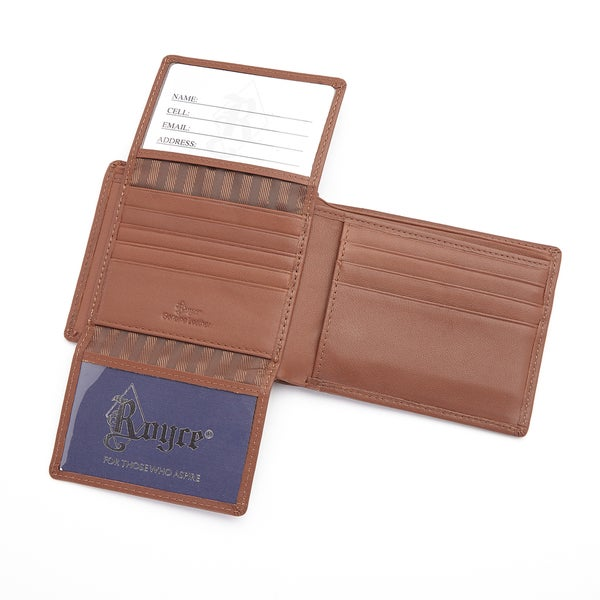 Royce Leather Tan Genuine Leather Radio Frequency Identification Blocking Executive Bifold Wallet