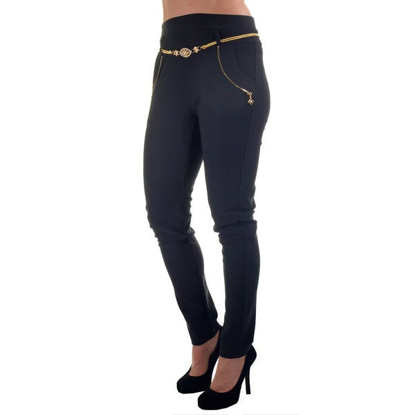 Women's Multicolor Polyester/Spandex Fashion Scuba Stretch Waist Pants with Belt