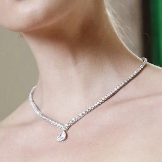 Annello 18k White Gold Certified 10 2/5ct TDW Pear Shape Diamond Eternity Tennis Necklace (I, SI2)