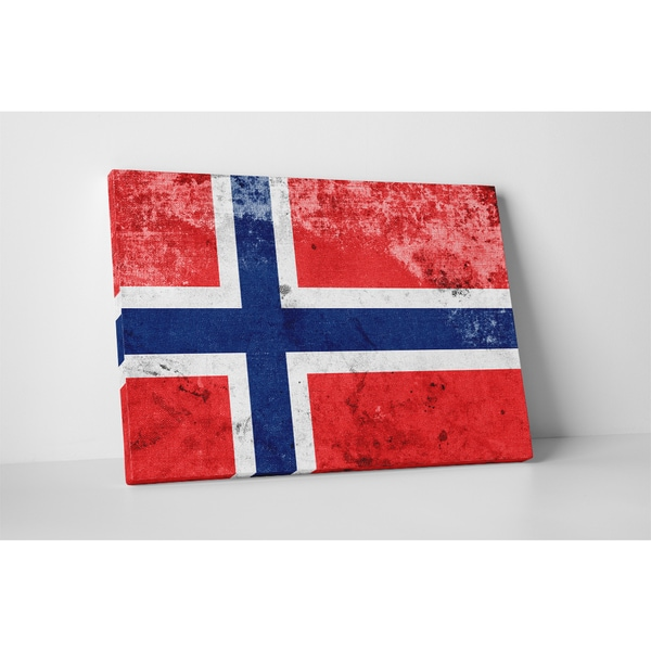 Flags 'Vintage Norway Flag' Gallery Wrapped Canvas Wall Art
