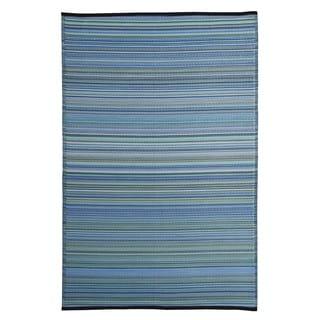 Blue/Multicolor Polypropylene Stripe Indoor/Outdoor Reversible Area Rug (5' x 8')