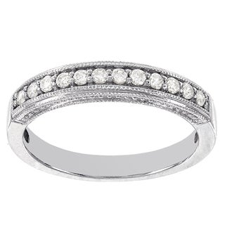 H Star 14k White Gold 1/7ct Wedding Band (I-J, I2-I3)