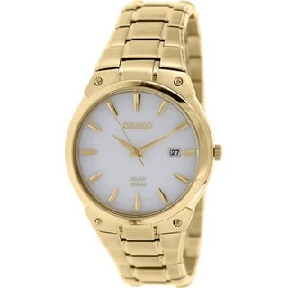 Seiko Men's Stainless Steel Gold Tone Solar Watch with a White Dial and a Date Window