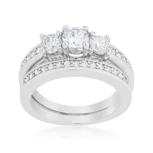 Kate Bissett Three-stone Wedding Ring Set