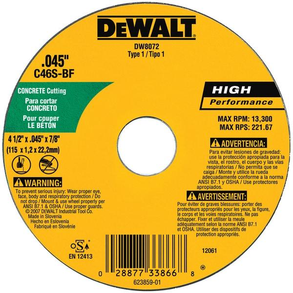 """DeWalt DW8072 4.5"""" Cutting Wheel"""