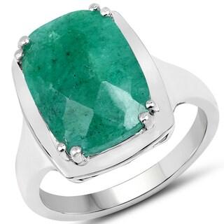 Malaika 0.925 Sterling Silver 5.60-carat Dyed Emerald Ring