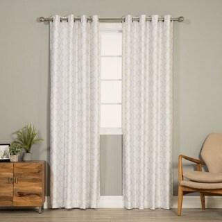 Aurora Home Faux Silk Reverse Quatrefoil Blackout Curtain Panel