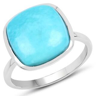 Malaika 0.925 Sterling Silver 5.2-carat Genuine Turquoise Ring