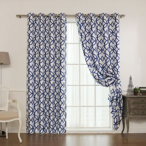 Aurora Home Faux Silk Reverse Geometric Trellis Blackout Curtain Panel