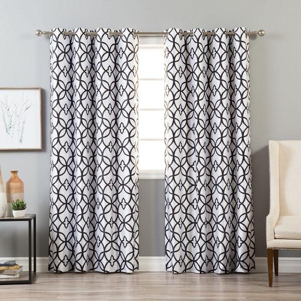 Aurora Home Faux Silk Reverse Geometric Trellis Blackout Curtain Panel - 52 x 84 19346876