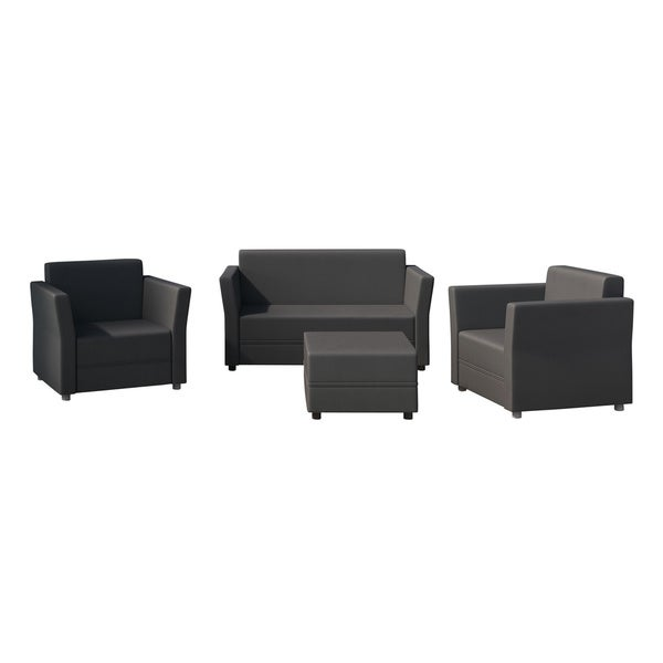 Graphite Verona Sofa Set with Two-seater Sofa, Two Chairs and One Coffee Table