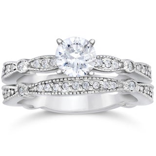 14k White Gold 7/8ct TDW Diamond Vintage Engagement Wedding Ring(I-J, I2-I3)