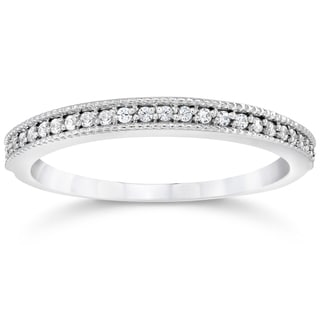 14k White Gold 1/8ct TDW Vintage Diamond Accent Anniversary Wedding Ring (I-J,I2-3)