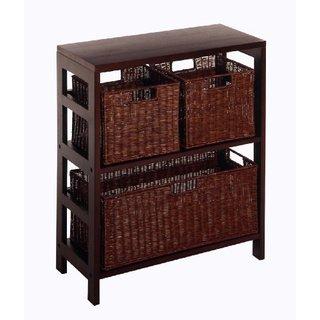 Leo 4-piece Wood Shelf with Three Baskets