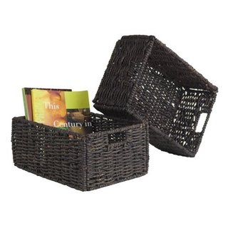 Granville Brown Synthetic Husk Medium Folding Baskets (Set of 2)