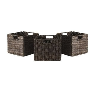 Granville Brown Corn Husk Small Foldable Baskets (Pack of 3)