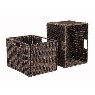 Granville Brown Corn Husk Tall Foldable Baskets (Set of 2)