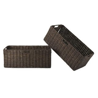 Granville Chocolate Foldable 2-piece Large Brown Corn Husk Baskets