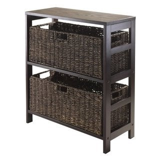 Granville Espresso Storage Shelf with Two Large Baskets