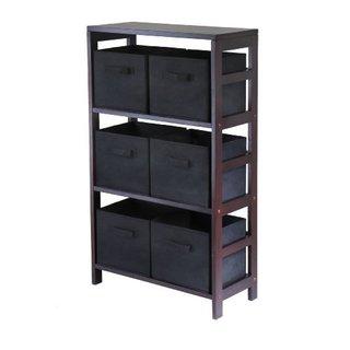Capri Brown Wood 3-section Storage Shelf with 6 Black Fabric Foldable Baskets