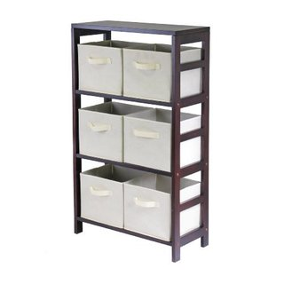Capri 3-section M Storage Shelf with 6 Beige Fabric Foldable Baskets