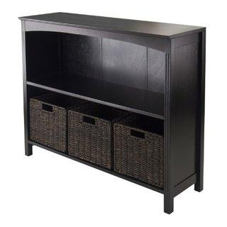 Espresso Wood 3-tier Storage Shelf with 3 Small Baskets
