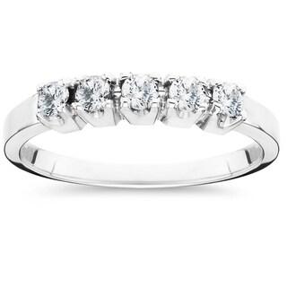 14k White Gold 1/2ct TDW 5-Stone Diamond Wedding Ring (I-J,I2-I3)