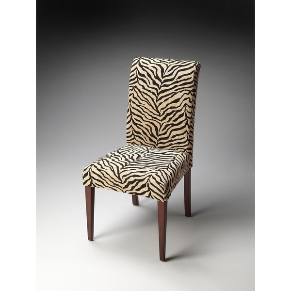 Butler Black and Off-white Zebra Print Fabric Parsons Chair