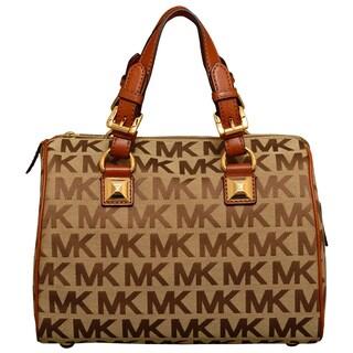 Michael Kors Medium Signature Grayson Beige/ Ebony/ Luggage Satchel Handbag