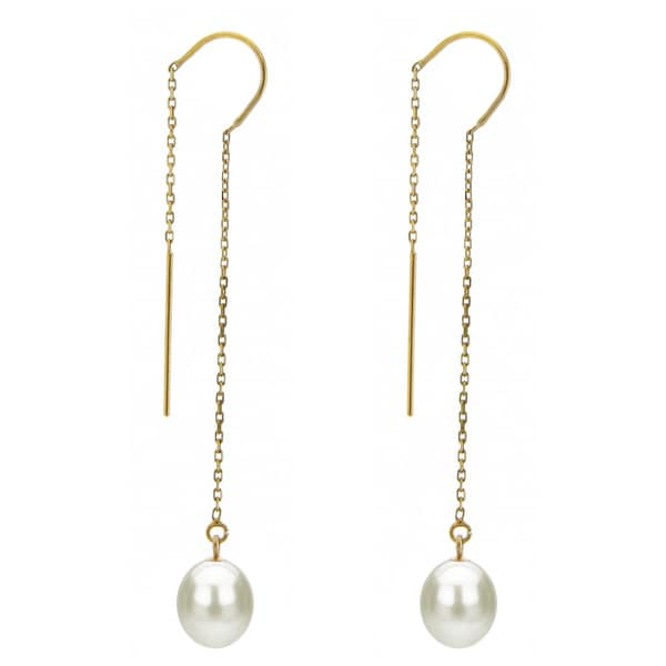 DaVonna 14k Yellow Gold 7-8mm White Cultured Freshwater Pearls Cable Chain Hoop Dangle Earrings