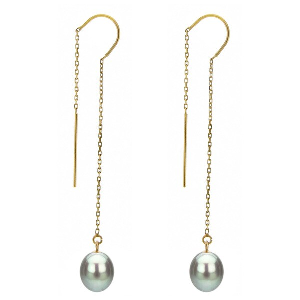 DaVonna 14k Yellow Gold 7-8mm Grey Cultured Freshwater Pearls Cable Chain Hoop Dangle Earrings