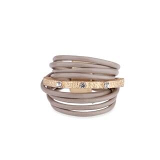 Saachi Embellished Bar Leather Ring (China)
