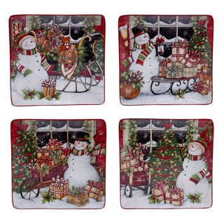 Certified International Snowman's Sleigh 10.25-inch Dinner Plates with Assorted Designs (Pack of 4)