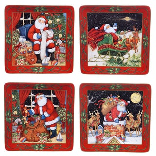 Certified International 'The Night Before Christmas' Assorted Designs 10.5-inch Dinner Plates (Pack of 4)