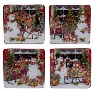 Certified International Snowman's Sleigh 8.25-inch Dessert Plate With Assorted Designs (Pack of 4)