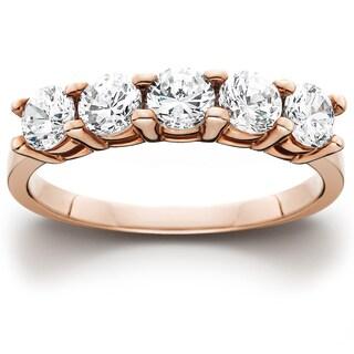 14k Rose Gold 1ct TDW Five Stone Diamond Wedding Ring (I-J, I2-I3)