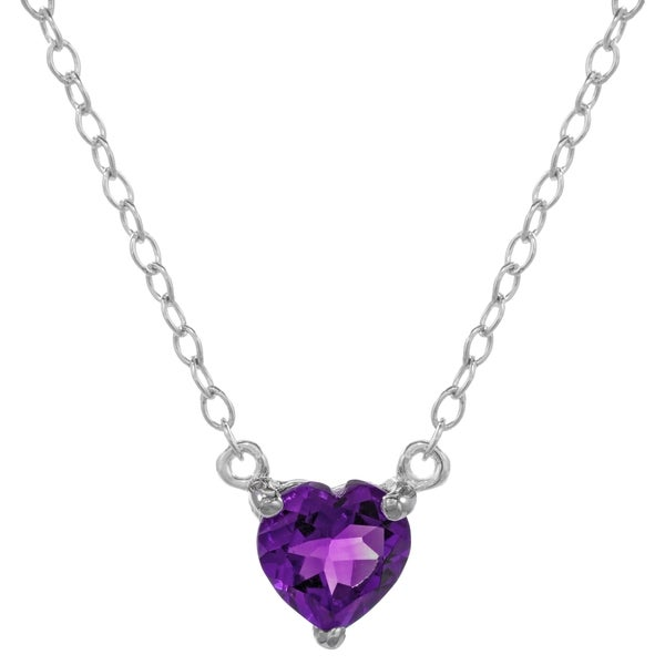 Sterling Silver Birthstone Heart Pendant Necklace