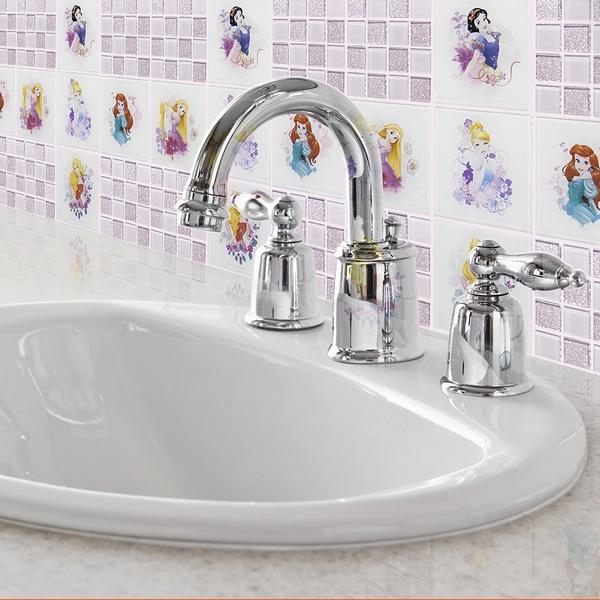 Disney 11.75x11.75-inch Princesses Pink Glass Mosaic Wall Tile