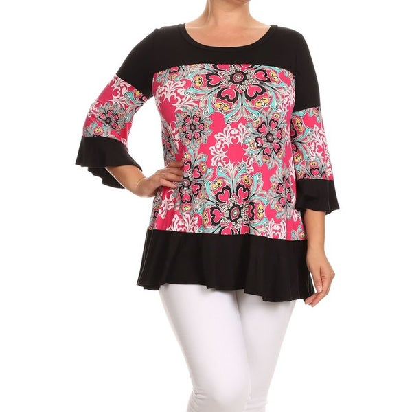 MOA Collection Women's B623FLOPKX Floral Kaleidoscope Rayon/Spandex Plus Size Top