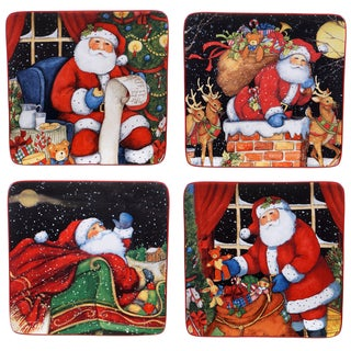 Certified International The Night Before Christmas 8.5-inch Dessert Plate with Assorted Designs (Pack of 4)