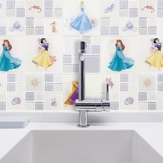 Disney 11.75x11.75-inch Princesses Ice White Glass Mosaic Wall Tile