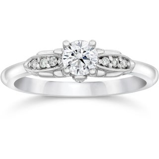 14k White Gold 1/2ct TDW Diamond Vintage Engagement Ring (I-J, I2-I3)