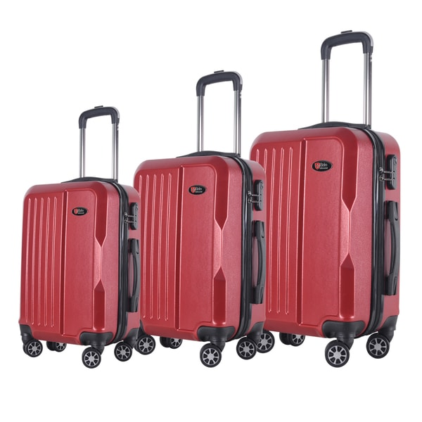 Brio Luggage 3-piece Solid-colored ABS Hardside Spinner Luggage Set 19348556