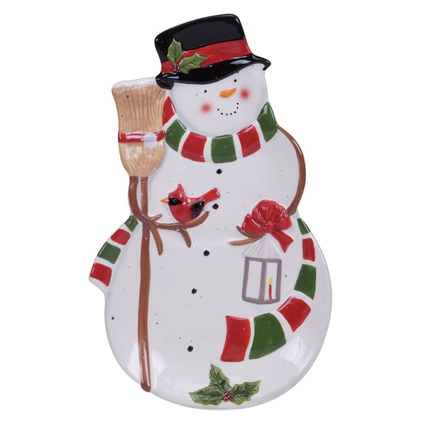 Certified International Snowman's Sleigh 3D Platter