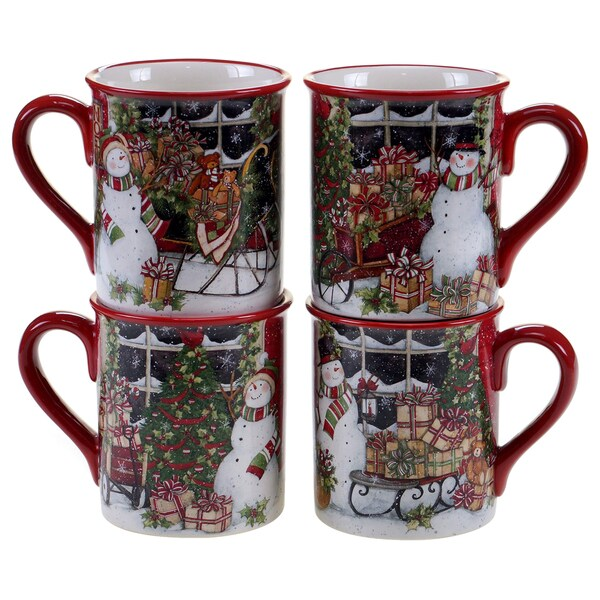 Certified International Snowman's Sleigh 16-ounce Mugs With Assorted Designs (Pack of Four)