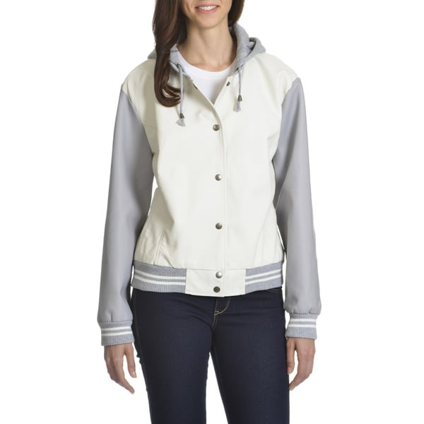 Ashley Women's Black, Grey, Off-white Faux Leather Junior Plus Size Bomber Jacket 19348798