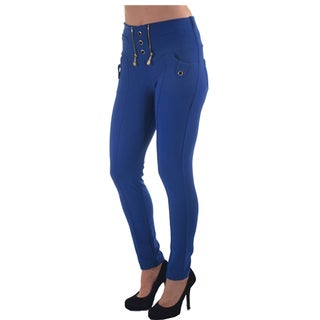 Women's Polyester/Spandex High-waisted Scuba Skinny Zip-up Stretch Pants