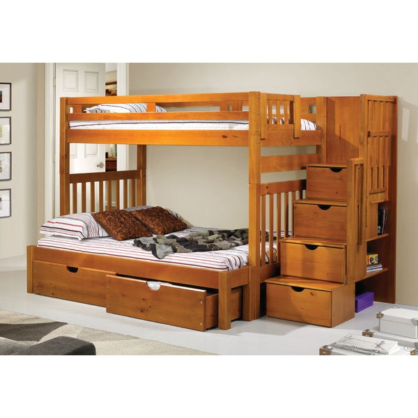 Donco kids honey colored pine wood tall twin over full for Kids twin bed with drawers